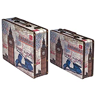 aubaho Travel chests with Big Ben London Rome design suitcases antique style set of 2