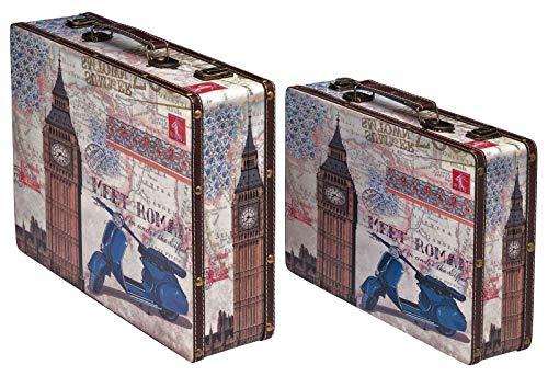 aubaho 2X Koffer Kofferset London Big Ben Rom Italien Holz Holzkoffer Antik-Stil