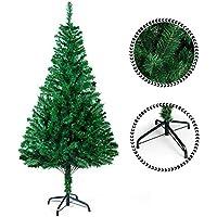 Sunjas Arbre de Noël Artificiel Sapin Artificiel Vert / Blanc 120cm-210cm (200-700RAMAS) (Vert 120cm)