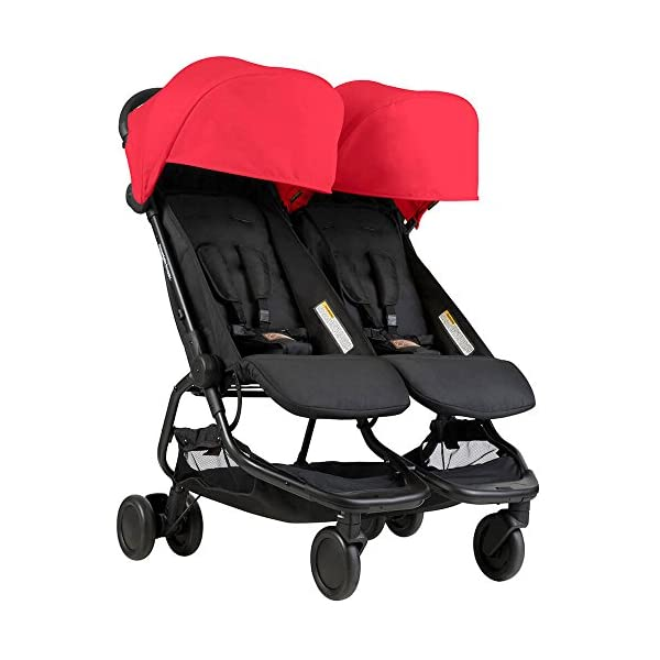 Mountain Buggy Nano Duo Stroller Ruby Mountain Buggy NEW nano duo - newborn comfort for one or two Ultra lightweight & compact fold Extra roomy seats with full lie flat option 1
