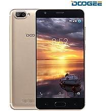 Moviles Libre, DOOGEE X20 Smartphone Libres, 3G Android 7.0 Telefonos (5.0 Pulgadas HD IPS Pantalla, MT6580 mali-400 Quad core, 1GB RAM + 16GB ROM, 5MP Cámara, 86°Gran Angular, Batería de 2580mAh, Dual SIM) - Oro