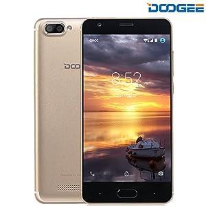 Mobile Phones Cheap, DOOGEE X20 Unlocked Dual SIM Free Smartphones, 3G 7.0 Android Phone (5 Inch HD IPS Display, MT6580 Quad Core, 1GB RAM + 16GB ROM, 5MP Camera, 2580mAh) - Gold