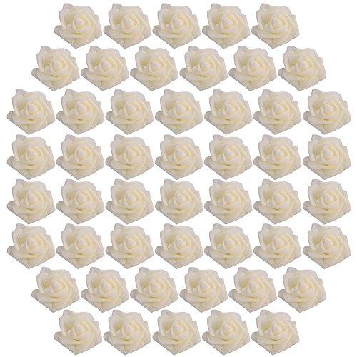 Kicode attachmenttou künstliche Schaum Packung mit 50 Stück Rose blüht Blumenstrauß 2.4in 14 Farben Wedding Bouquets Mittelstüc