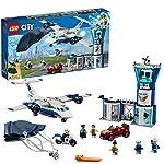 LEGO City BasedellaPoliziaAerea, Aereo con Paracadutista e Jetpack,Moto e Automobile,Set di Costruzioni per Inseguimenti per Bambini, 60210 LEGO