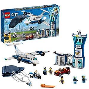 LEGO City BasedellaPoliziaAerea, Aereo con Paracadutista e Jetpack,Moto e Automobile,Set di Costruzioni per Inseguimenti per Bambini, 60210 Spagnolo, Sconosciuto LEGO