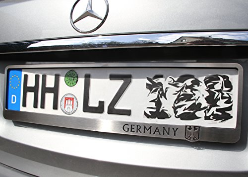 Moto 1x Exklusive Kennzeichenhalterung Kennzeichenhalter Edelstahl gebürstet Germany (Adler Kennzeichenhalter)