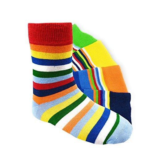 Kinder Socken bunte Ringel handgekettelt Spitze ohne Naht 6 Paar aus besonders weicher Baumwolle Gr. 39-42 (39-42, GLRingel)