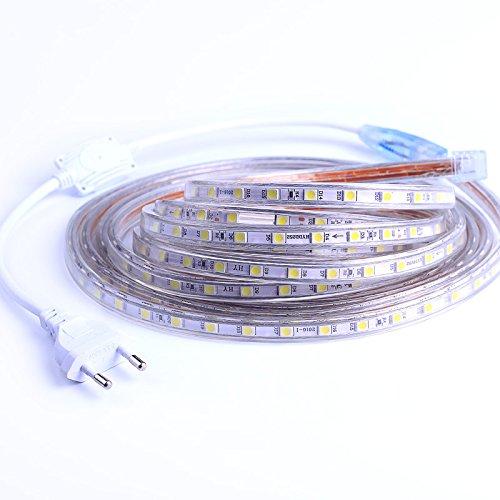 LED Band, Streifen Lichtband Wasserdicht, Sehr helle LED Beleuchtung, mit EU Stekcer, IP65 230V 60 LEDs/M (2M, Warmweiß)