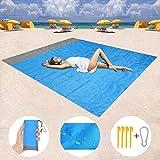 Homened Stranddecke, 200 x 140 cm Sandfreie Picknickdecke Campingdecke Strandtuch, wasserdichte sandabweisende Camingmatte, schnell troknend, Ultraleicht und kompakt Campingdecke für Camping,