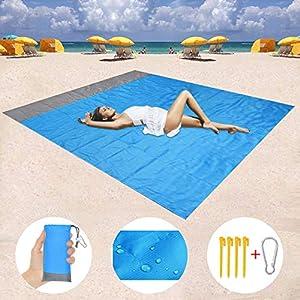 Stranddecke, 200 x 140 cm Sandfreie Picknickdecke Campingdecke Strandtuch, wasserdichte sandabweisende Camingmatte…