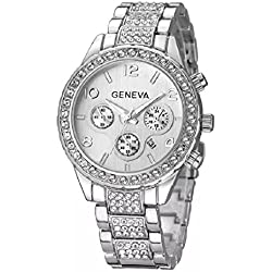 Geneva Platinum Big Size Studded Silver Women's Timepiece - GP-269