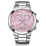 CENXINO Damen Chronograp Japanisches Quarzwerk Armbanduhren mit Edelstahl Armband L7011 Rosa