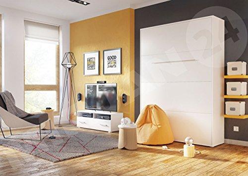 Mirjan24  Schrankbett Concept Pro I Vertical, Wandklappbett inkl. Lattenrost, Bettschrank, Wandbett, Schrank mit integriertem Klappbett, Funktionsbett, Farbauswahl, (140×200 cm, Weiß) - 3