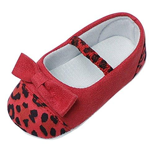 Baby Mädchen Wildleder Schuhe Leopard Bowknot Prinzessin weiche Sohle Prewalker Schuhe für 0-18 Monate (Bootie Leopard)