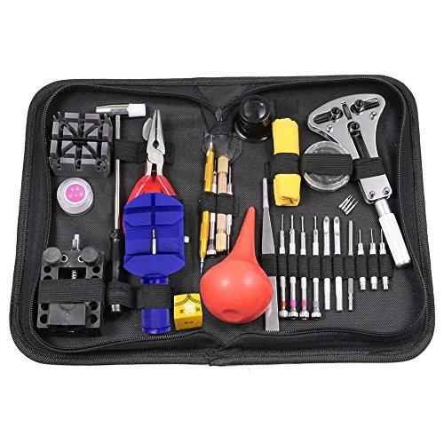 Uhren-Reparaturset von Starall, zur Reparatur von Uhrenarmbändern, Gelenkbolzen, Gehäuseöffner, Werkzeug-Set mit Tragetasche, schwarz