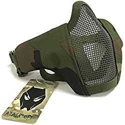 Tactical Airsoft CS Protective Garde Strike Steel Half Face Masque avec 2-Ceintures pour la chasse Paintboll WorldShopping4U (Woodland Camo)