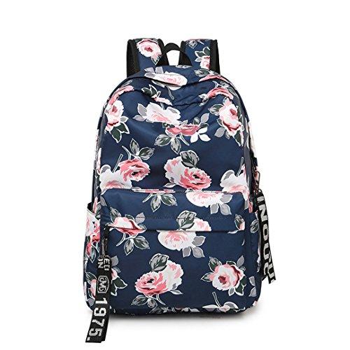 Mode Frauen Blume Druck Schule Rucksack Für Teenager Mädchen College Laptop Reisetasche Rucksack Bookbag Blue1
