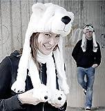 Eisbär Mütze – weiß, mit Bärenkopf aus Velourplüsch - 4
