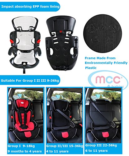 Mcc 3in1 Convertible Baby Child Car Safety Booster Seat Group 1/2/3 9-36 kg [PINK* GREY* ORANGE* RED* BLUE* SPOTTED* LEOPARD*] (Grey)