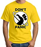 35mm - Camiseta Hombre - The Hitchhiker's - Guide To The Galaxy Don't Panic- T-Shirt, Amarillo, S