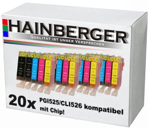 20 Druckerpatronen mit Chip und Füllstandanzeige - 4 x schwarz (525BK) 4 x schwarz (526BK) 4 x blau (526) 4 x rot (526M) 4 x gelb (526Y)