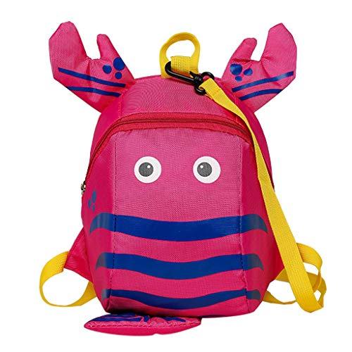 12shage handtaschen kinder kinder jungen mädchen mode niedlichen cartoon 3d Hummer anti-verlorene rucksack tasche (Hot Pink)