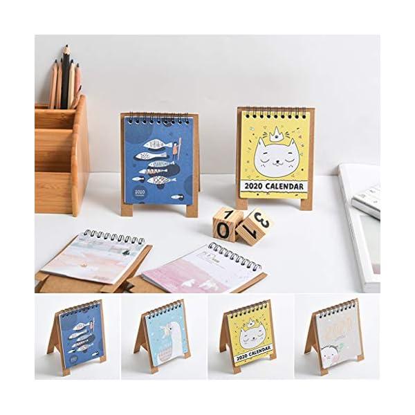 RROVE 2020 Table Calendar Cute Cartoon Desktop Paper Calendar, Multi-Function Timetable Plan Notebook 5
