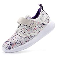 EIGHT KM Girls Toddler Kids EKM7025 Lightweight Breathable Splattered Purple Fabric Velcro Sneakers School Shoes Size 9 UK