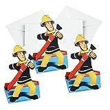 Procos Einladungskarten | Tischkarten 8 Stück | Feuerwehrmann Sam | Kinder Geburtstag