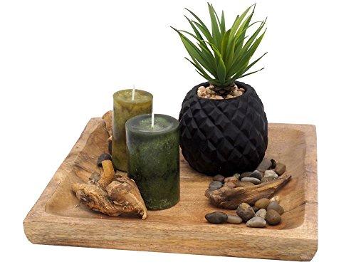 Tablett Deko Sukkulente Kerzen Holz Natur Wohnzimmer Tischdeko Grün