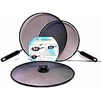 Ik-Onkar pack of 3 Splatter screen Guard Set on Frying Pan Anti Splash Screen Cover Mesh Metal Wired 2x 28 diameter 1x 24 diameter