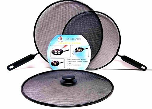 Ik-Onkar pack of 3 Splatter screen Guard Set on Frying Pan Anti Splash Screen Cover Mesh Metal Wired 2x 28 diameter 1x 24 diameter