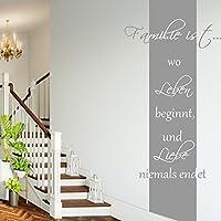 Wandschnörkel ® Wandtattoo ~HM~AA181~Familie ist wo Leben beginnt. Wandbanner~ Wohnzimmer Flur Schlafzimmer Wand Aufkleber Sprüche Zitate Wanddekoration Farbwahl/Größenwahl