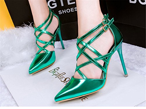 Wealsex Damen Cross Strap Rom Lackleder Spitze Pumps Klassische Stilettos High Heels Sandaletten Grün