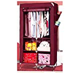 Evana 3 Feet Creative Maroon Cabinet,Easy Installation Folding Wardrobe Cupboard Almirah Foldable Storage Rack Collapsible Cloths Organizer