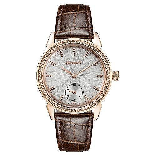 Ingersoll donna la gemma orologio al quarzo con quadrante e cinturino in pelle marrone crema I03702