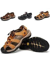 Sandali Sportivi Estivi Scarpe da Spiaggia per Uomo all aperto Scarpe  Casual da Pescatore in Pelle Sandalo da Acqua… 13d212e0aa6