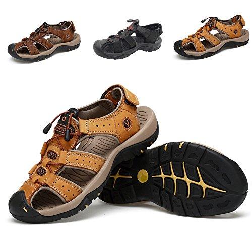 Sandali sportivi estivi scarpe da spiaggia per uomo all'aperto scarpe casual da pescatore in pelle sandalo da acqua traspirante coreano,marrone chiaro,eu40