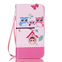 iGrelem® Galaxy S7 Edge Leather Case, Wallet Cover for Samsung Galaxy S 7 Edge (Owls, Pink)