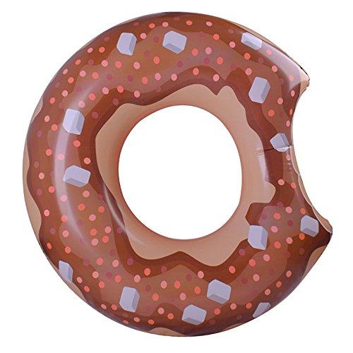 CHENGYI Schwimmendes Bett, Wasser Aufblasbarer Donut Schwimmring, Schwimmbad Float Aufblasbare Spielzeug Erwachsene & Kind Schwimmende Bett Wasser Erholung Stuhl 120 cm ( Farbe : Braun )