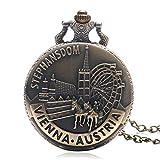 Bronze Taschenuhren Herren Geschenk Retro Wien Österreich Uhr mit Kette Kette Weihnachten Geschenk