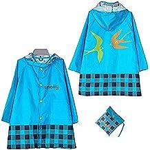 Chubasquero Con Capucha Infantil Resistente Al Agua Lluvia Poncho Chubasquero Impermeable Protección Contra La Intemperie para Niñas y Niños Unisex 3-12 años 4 Tamaño
