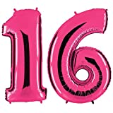 PartyMarty Ballon Zahl 16 in Pink - XXL Riesenzahl 100cm - zum 18. Geburtstag - Party Geschenk Dekoration Folienballon Luftballon Happy Birthday Rosa