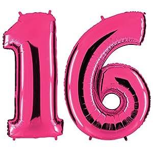 ballon zahl 16 in pink xxl riesenzahl 100cm zum 18. Black Bedroom Furniture Sets. Home Design Ideas