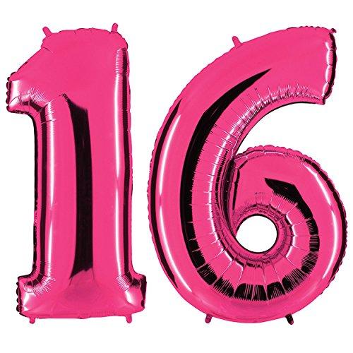 PartyMarty Ballon Zahl 16 in Pink - XXL Riesenzahl 100cm - zum 18. Geburtstag - Party Geschenk Dekoration Folienballon Luftballon Happy Birthday Rosa