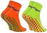Rainbow Socks - Damen Herren Neon Sneaker Sport Stoppersocken - 2 Paar - Orange Grün - Größen: EU...