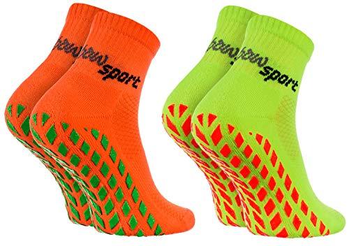 Rainbow Socks - Damen Herren Neon Sneaker Sport Stoppersocken - 2 Paar - Orange Grün - Größen: EU 36-38 -