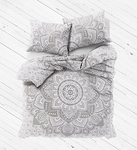 Madhu International White Silver Ombre Mandala Duvet Cover With Pillow cases, Mandala...
