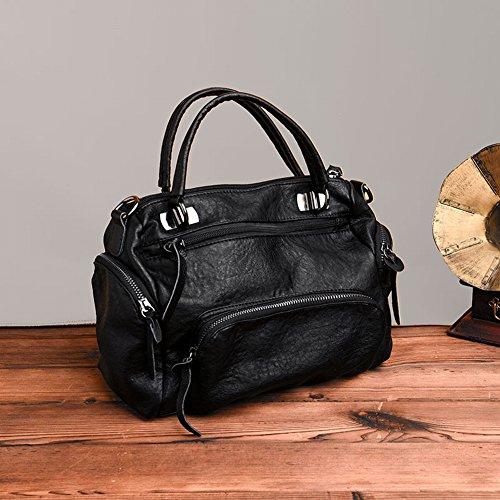 Boston Handtaschen Personalisierte Mode Tasche Mumie Tasche Mehrschichtige Weiche Lederatmosphäre Messenger Bag , schwarz - Personalisierte Boston Bag
