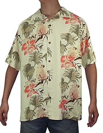 Mens Hawaiian Short Sleeve 100% SILK Camp Shirt XL Multicolor